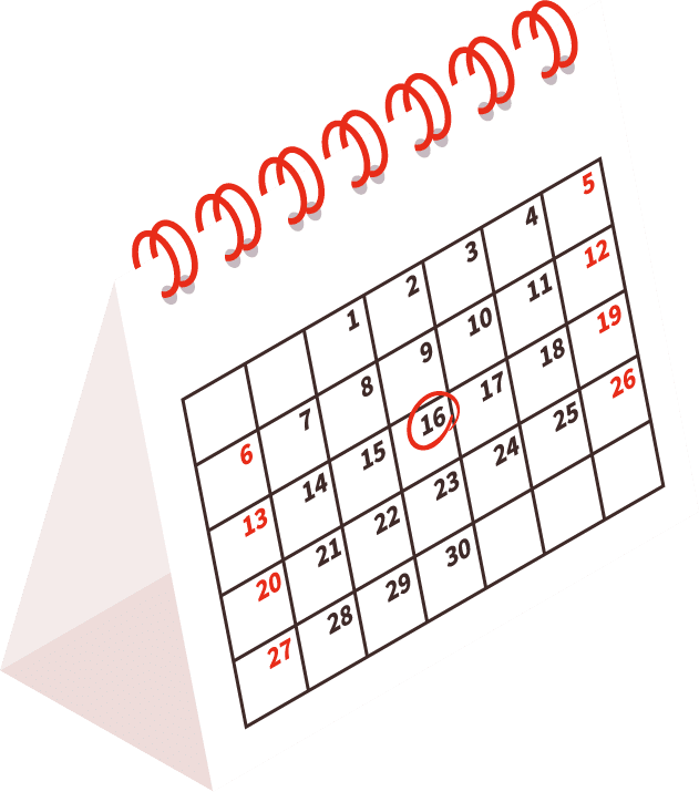Calendar with a date marked when the CPA Credits course will begin